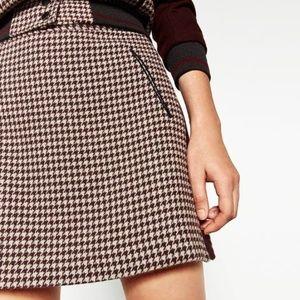 NWT Zara Basic Maroon Houndstooth Mini Skirt XS
